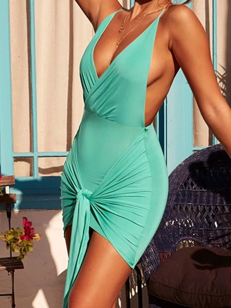 JurllyShe Plunging Knotted Front Ruched Backless Dress
