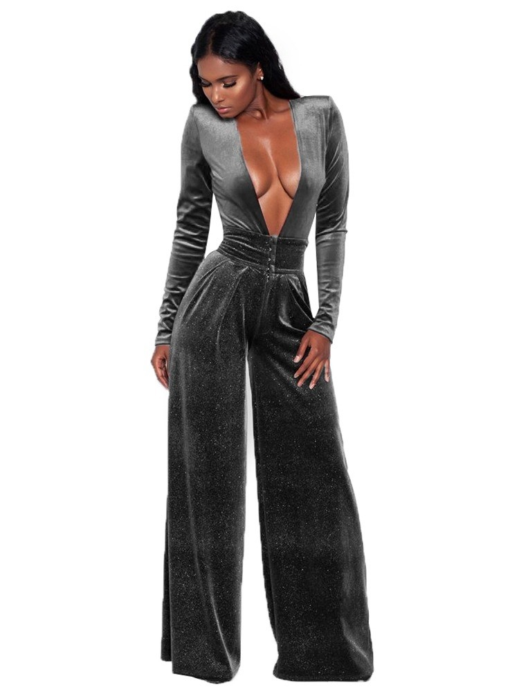 JurllyShe Plunging Wide Leg Velvet Jumpsuit Wide Leg Pants