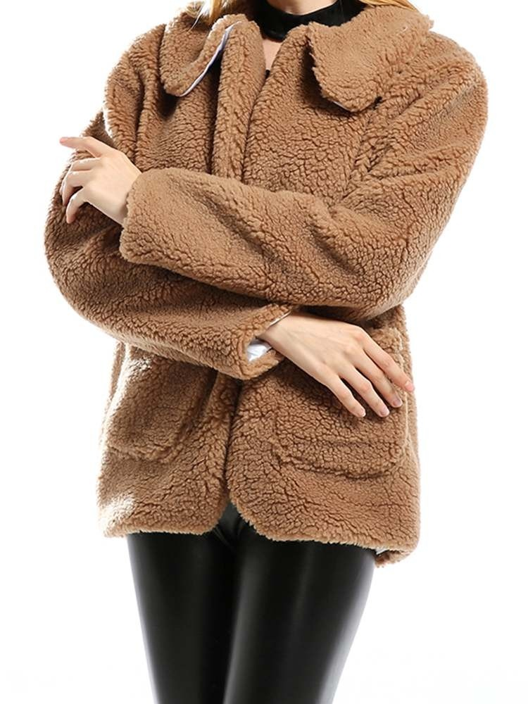 JurllyShe Pockets Faux Fur Warm Outwear