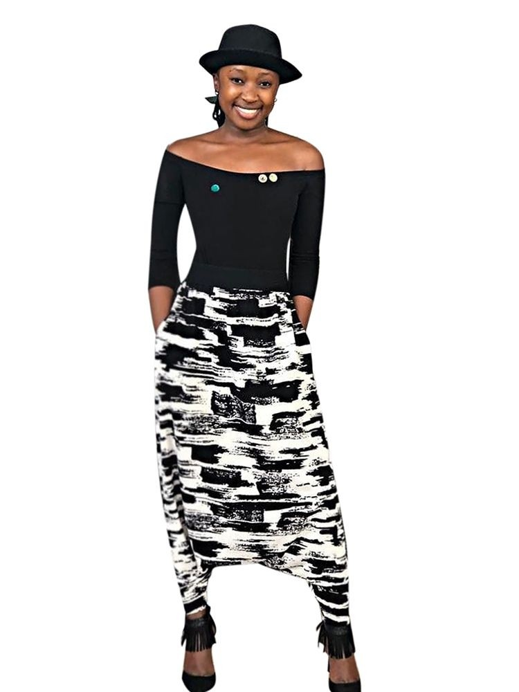JurllyShe Printed Drop Crotch Harem Pants