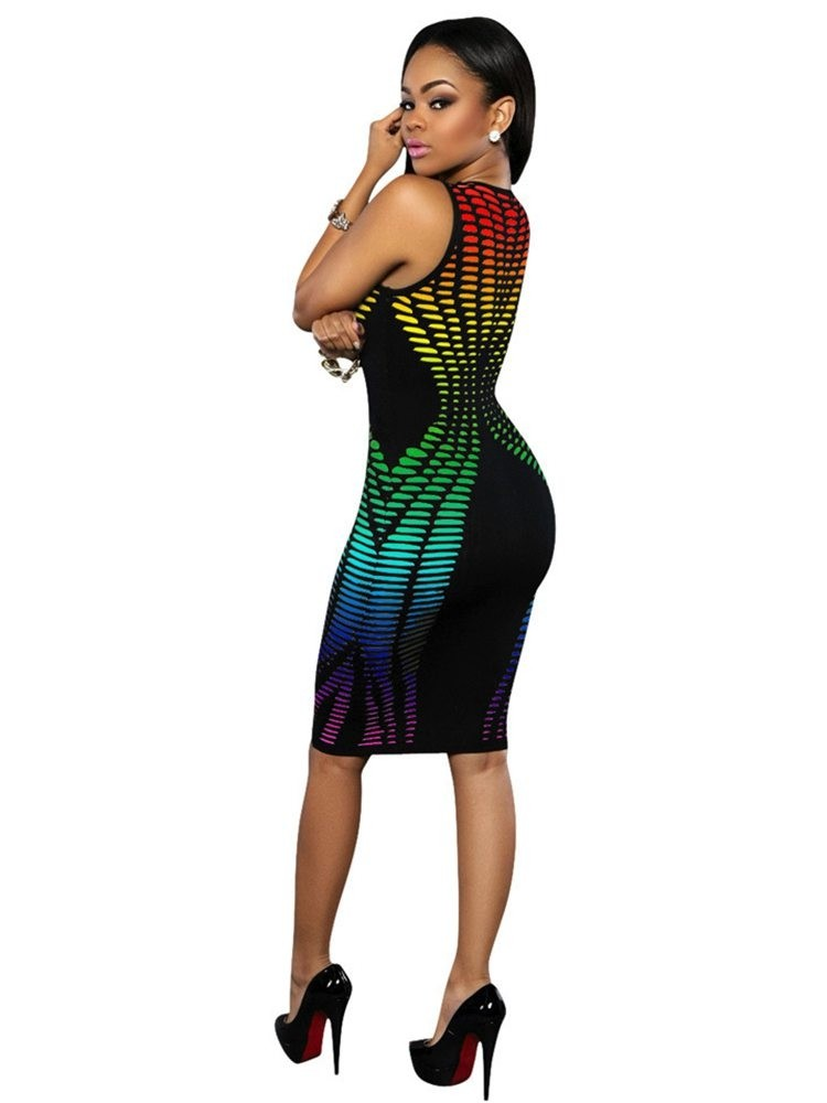 JurllyShe Printing Bodycon Vest Dress