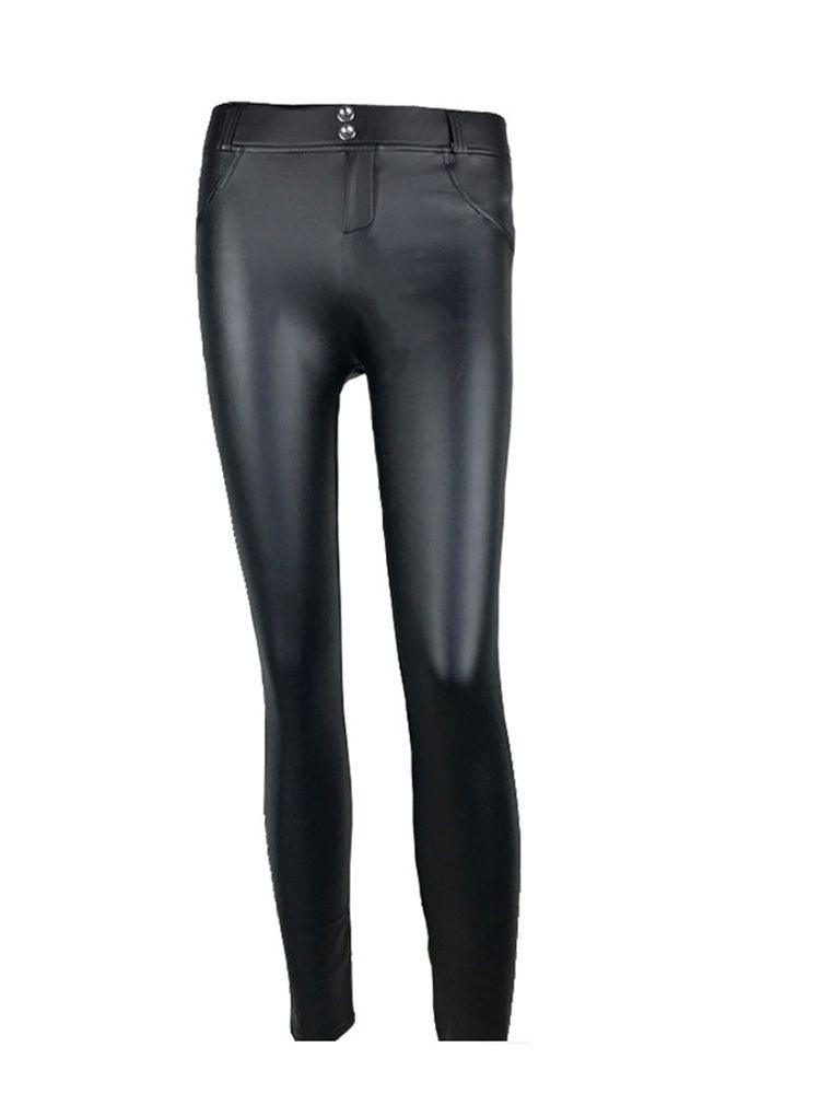 JurllyShe PU Leather Elastic Pencil Skinny Pants