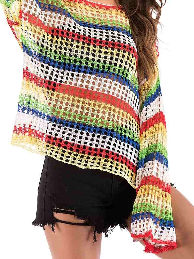 JurllyShe Rainbow Colors Hollow Out Knitting Sweatshirt