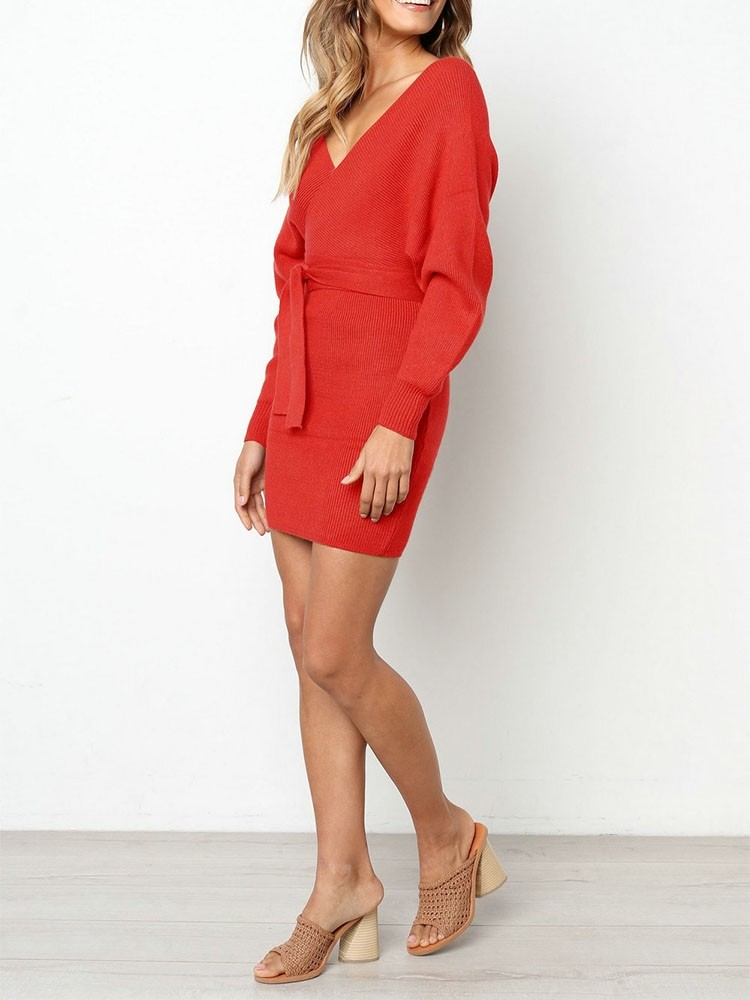 JurllyShe Rib Knitting Belted Wrap Dress