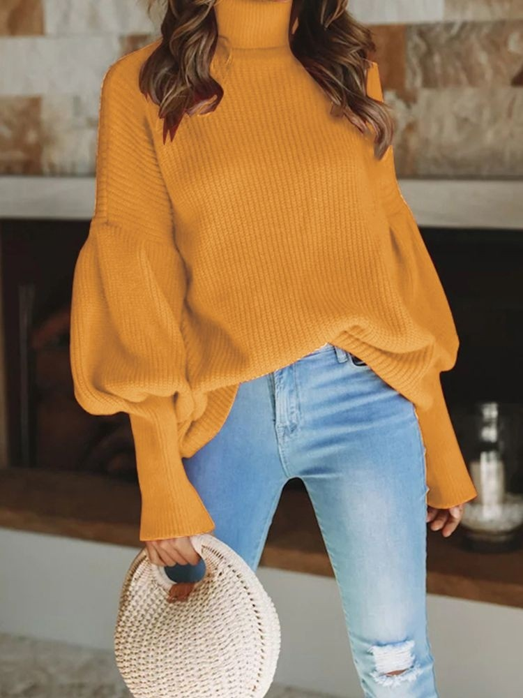 JurllyShe Rib Knitting Puff Sleeves Loose Sweater
