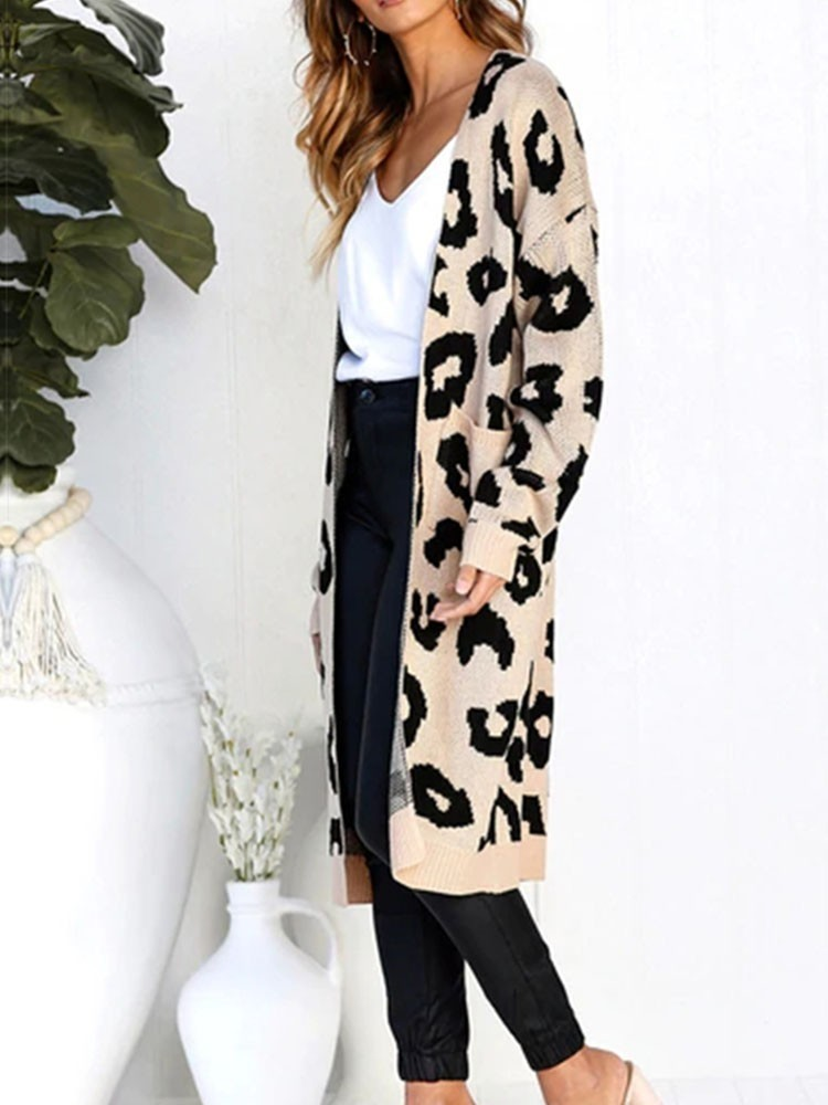 JurllyShe Rib Knitting Spliced Leopard Coat