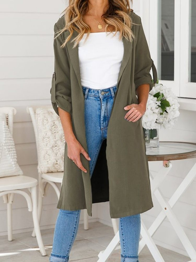 JurllyShe Rolled Sleeve Front Opening Coat
