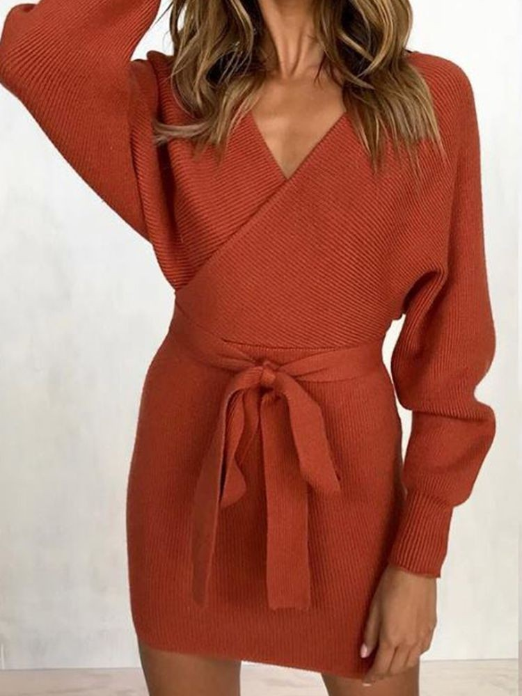 JurllyShe Self Belted Rib Knit Sweater Dress