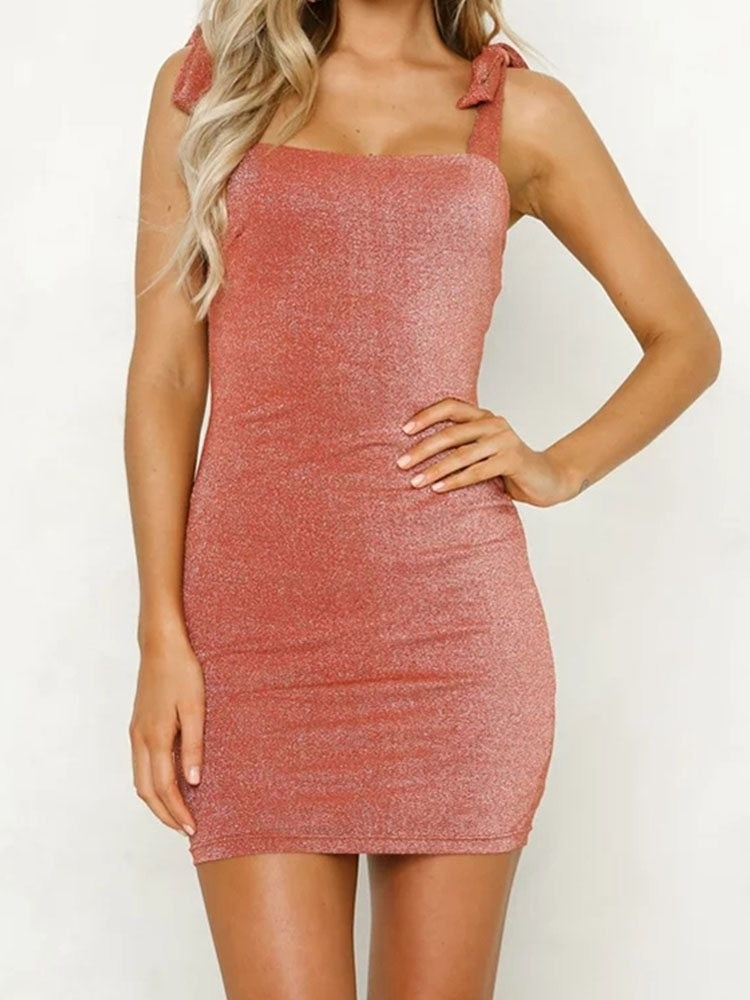 JurllyShe Self Tied Strap Backless Bodycon Dress