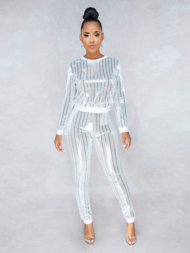 JurllyShe Sequin Crop Top and Legging Pant Outfits