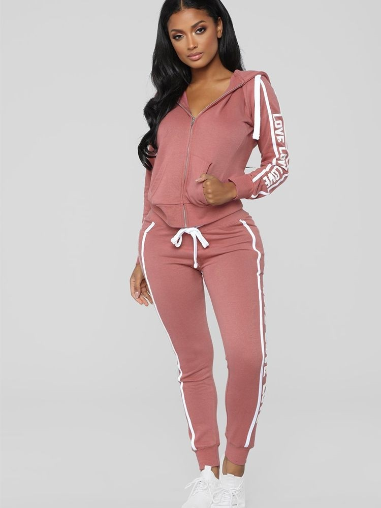 JurllyShe Side Letter Print Hooded Jacket and Drawstring Pants Two Piece Sets