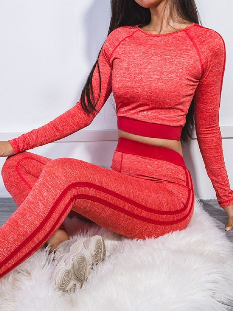 JurllyShe Side Stripe Crop Top With Legging Two Piece Sets