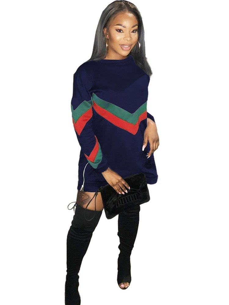 JurllyShe Side Zipper Up Long Hooded Sweatshirt Dress
