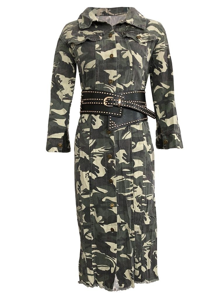 JurllyShe Single-Breasted Camo Print Longline Shirt Coat