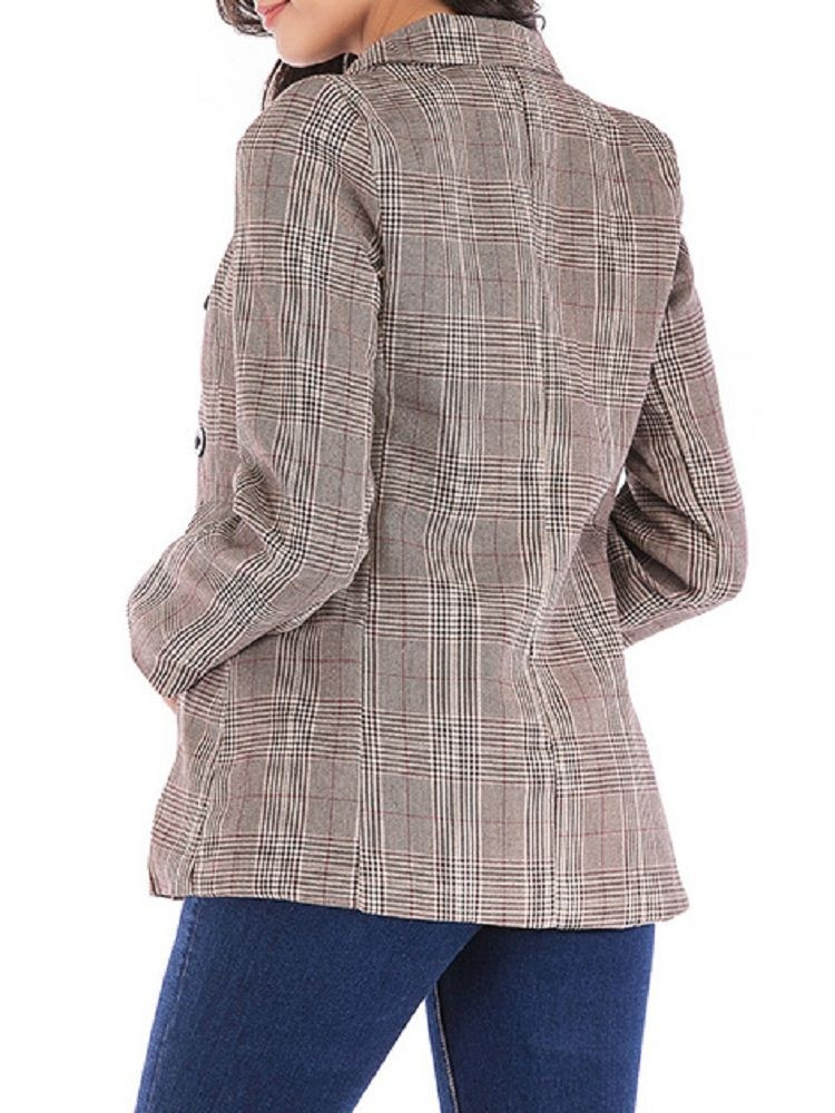 JurllyShe Single Breasted Notched Neck Plaid Blazer