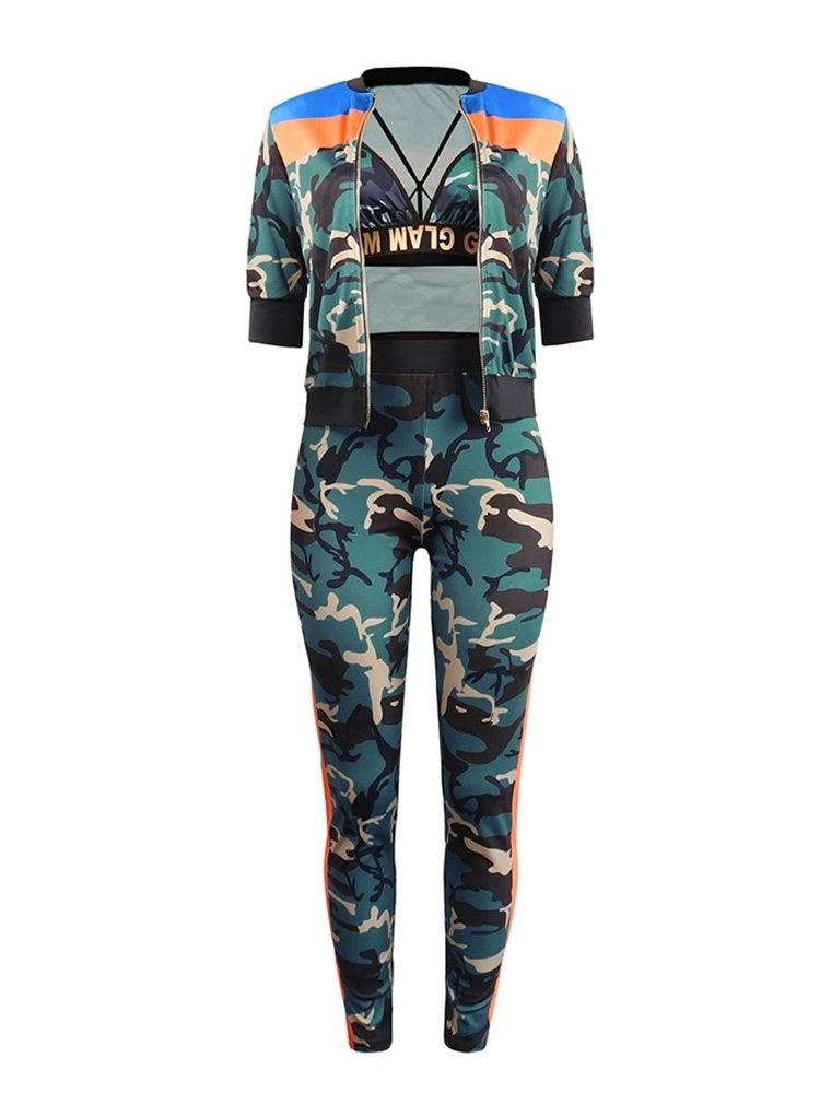 JurllyShe SLogan Bra And Zip-Up Camouflage Jacket With Contrast Color Camo Pants Three-Pieces