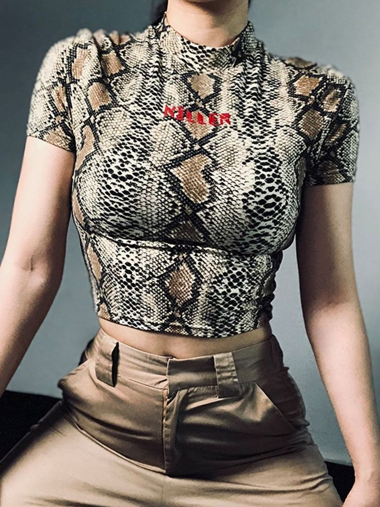 JurllyShe Snake Printed Crop Top
