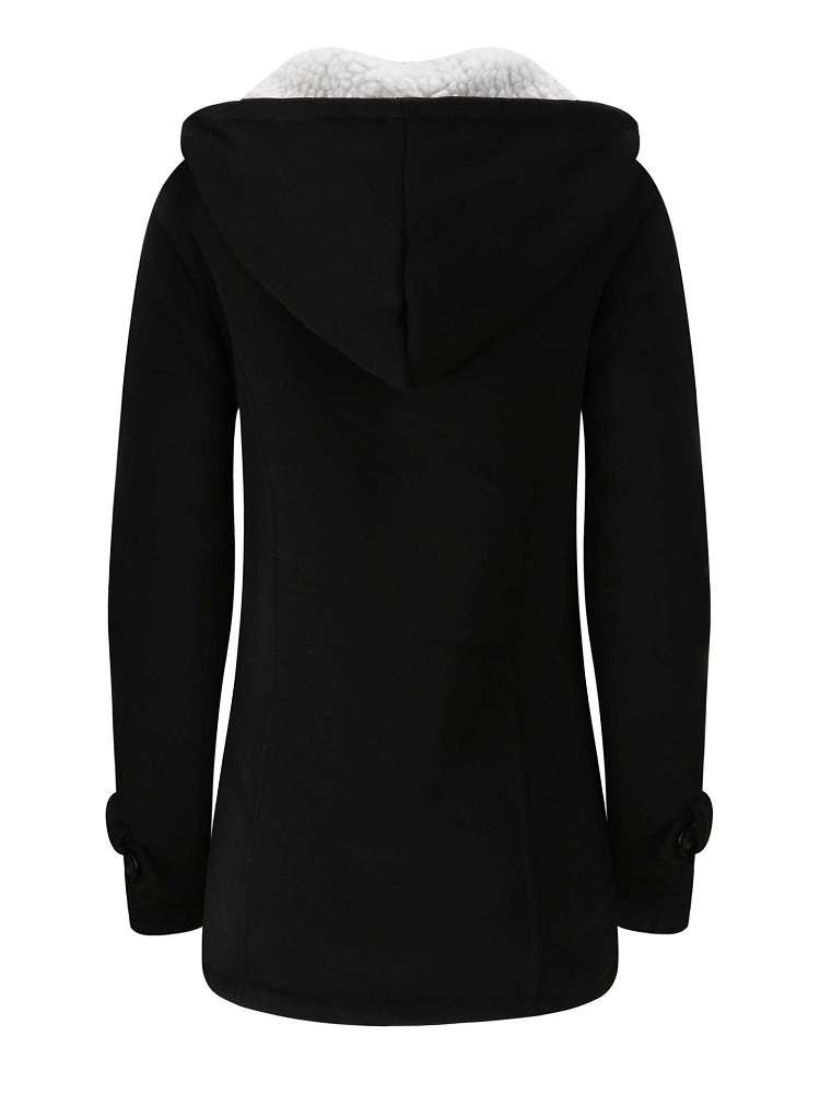 JurllyShe Solid Horn Buckle Dual Pocket Coat