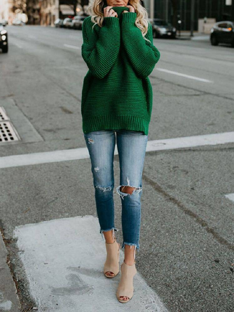 JurllyShe Split Side High Neck Solid Sweater