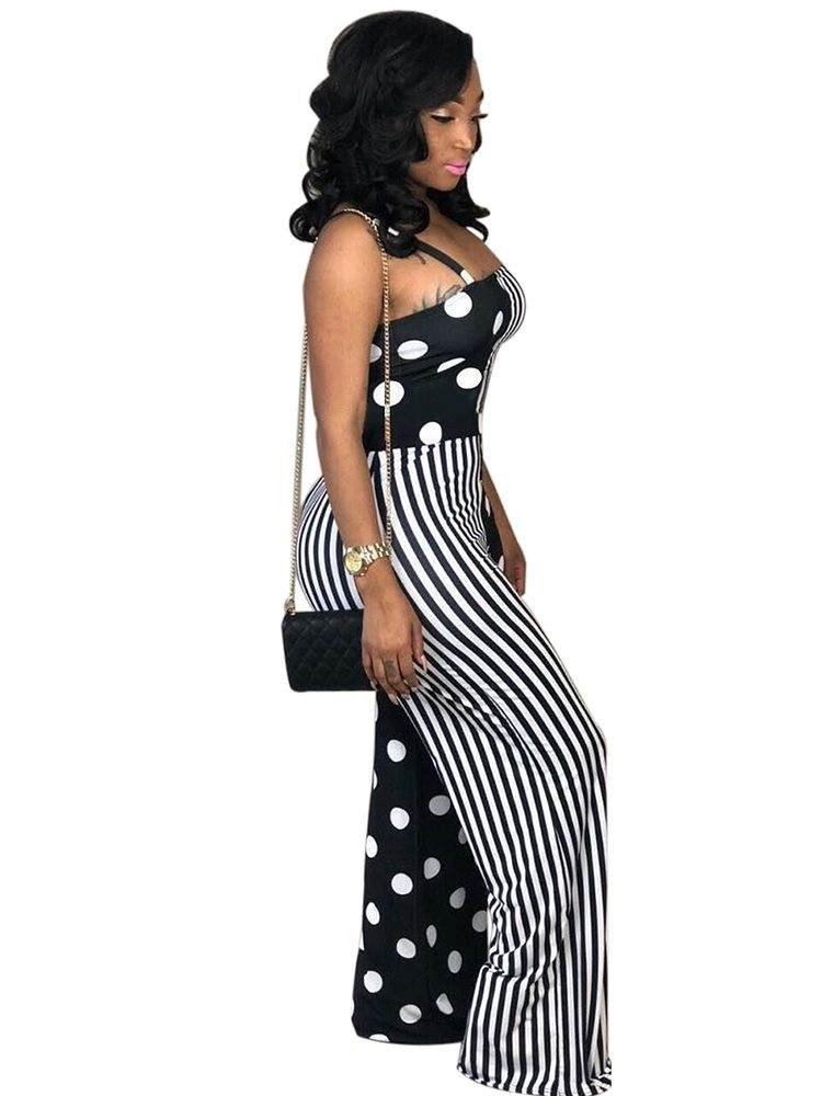 JurllyShe Stripe And Polka Dot Spliced Cami Jumpsuit