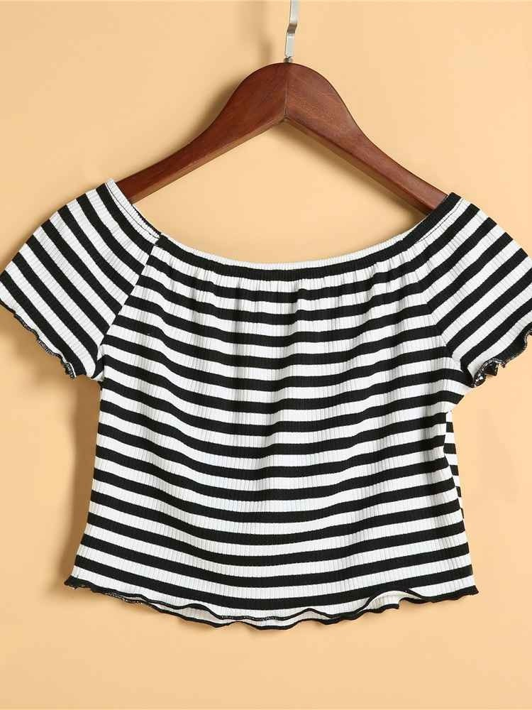 JurllyShe Striped Off The Shoulder Casual Crop Tops