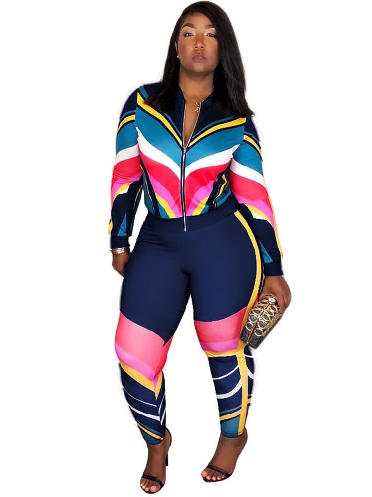 JurllyShe Striped Zip Tops with Bodycon Pants Sweat Suit