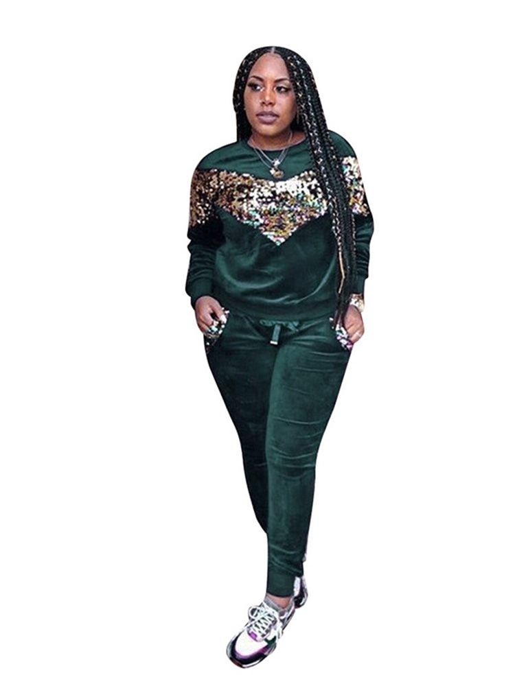 JurllyShe Velvet Embroidery Sequins Top and Pants Tracksuit