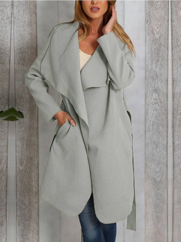 JurllyShe Wave Collar Waist Belted Open Front Coat
