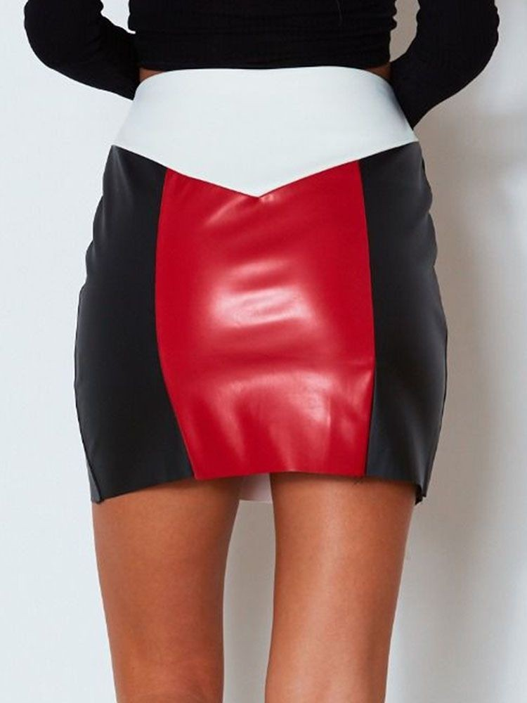 JurllyShe Zip Up Front Color Block Skirts