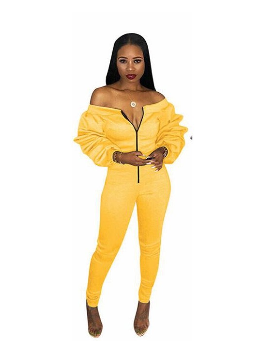 JurllyShe Zipper Front Slash Neck Long Puff Sleeve Romper