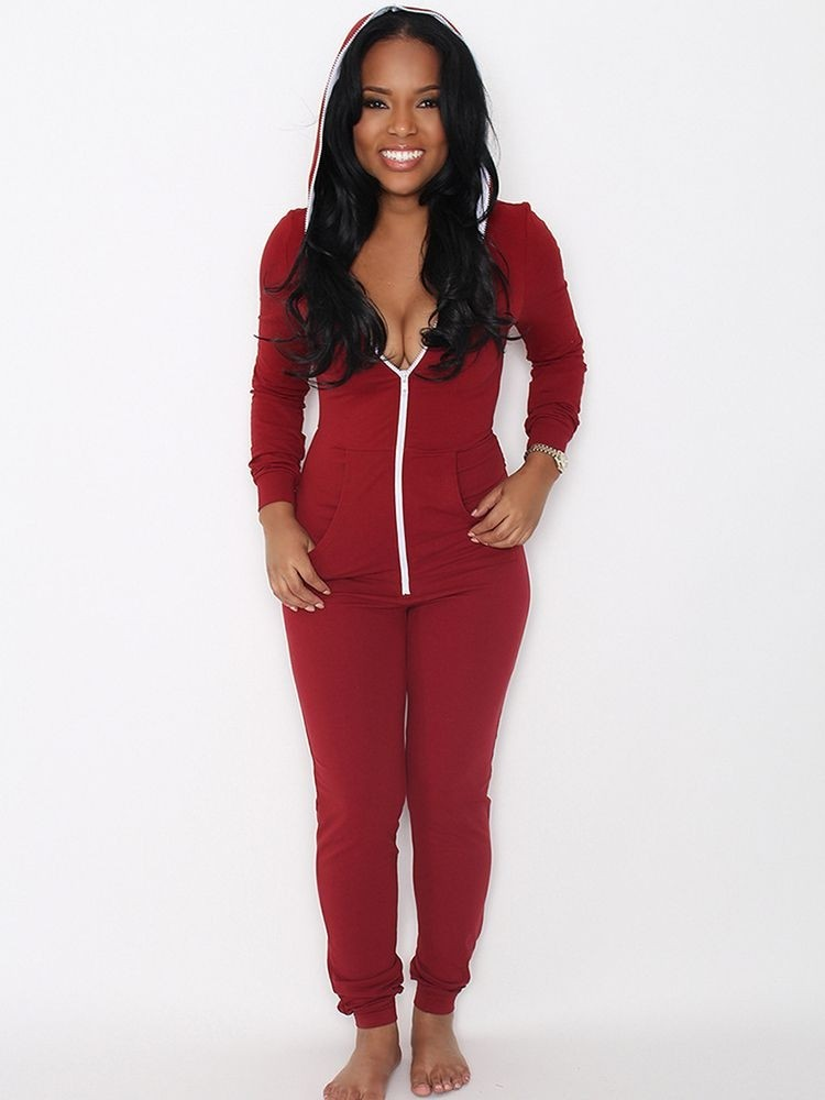 JurllyShe Zipper Up Hooded Catsuit