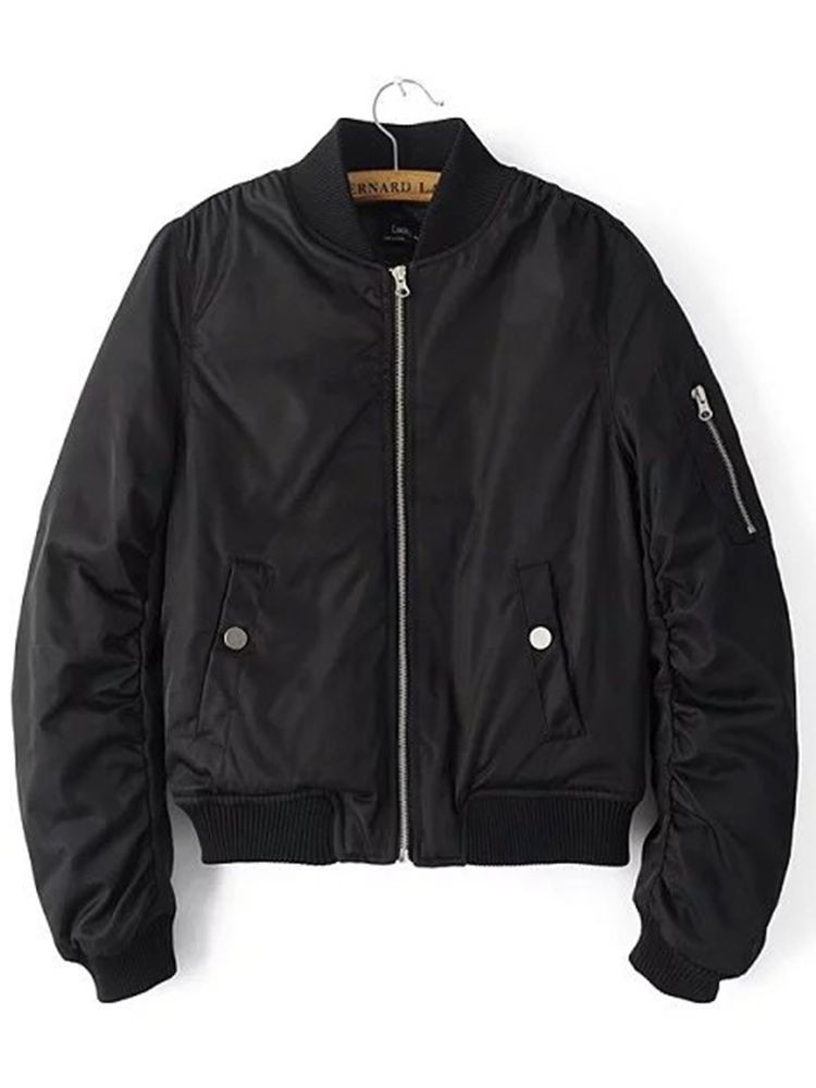 JurllyShe Zipper Up Pocket Front Jacket