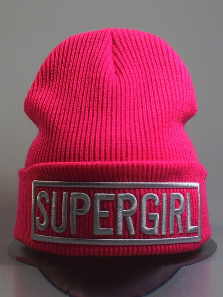 Knitting Letter SUPERGIRL Beanie