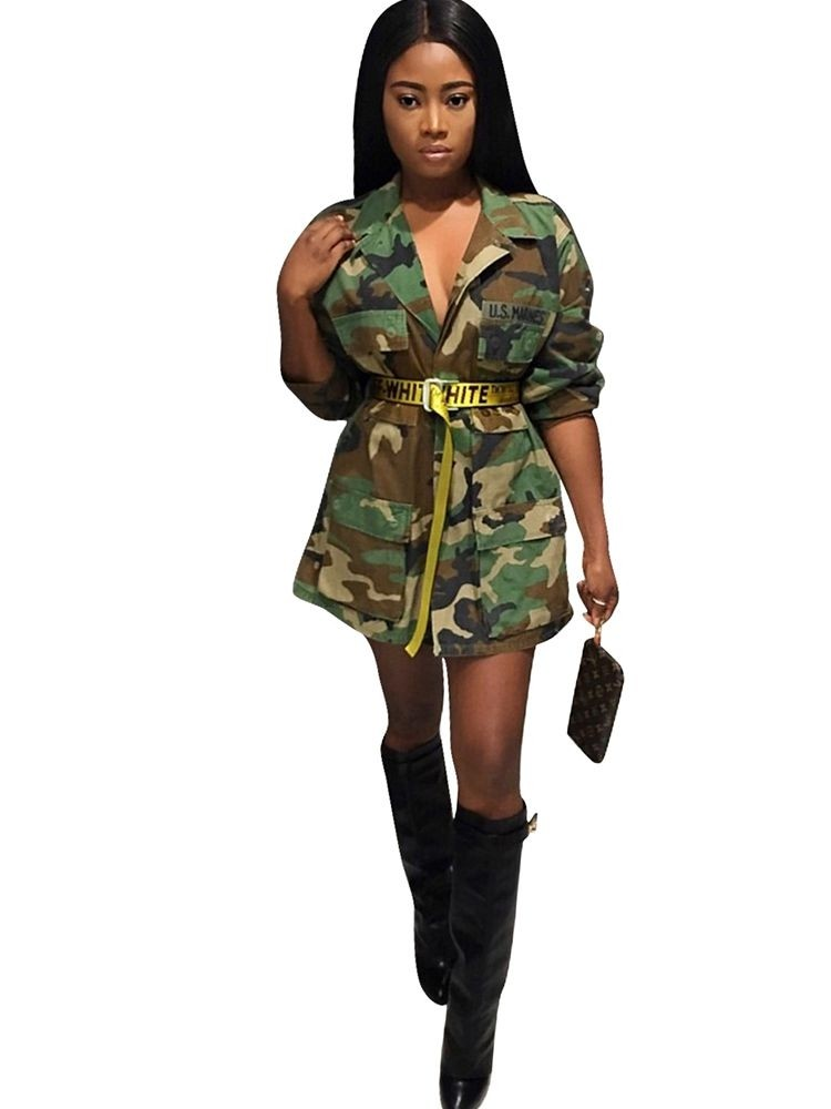 JurllyShe Long Sleeve Camo Button Jacket