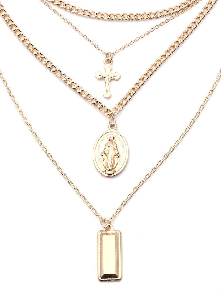Madonna Crucifix Rectangle Design Layered Pendant Necklace