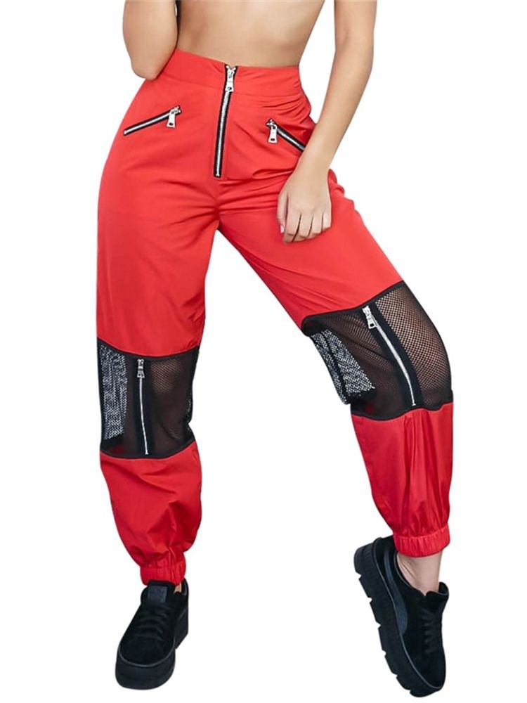 JurllyShe Mesh Patchwork Zipper Up Trousers-Red