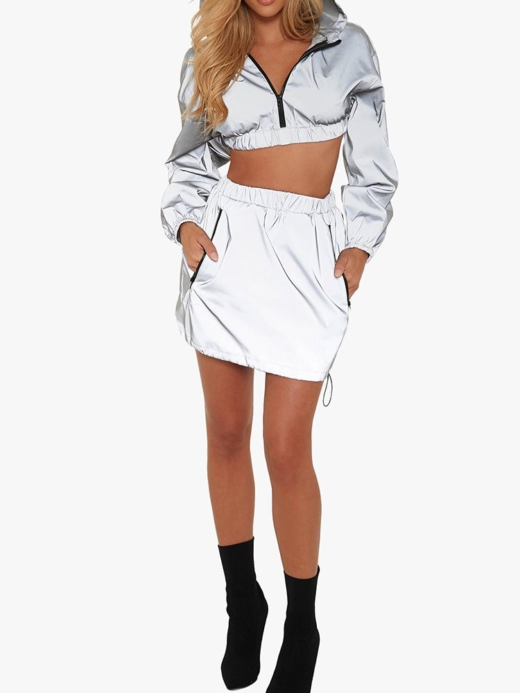 Reflective Zipper Front Crop Jacket With Skirt Set
