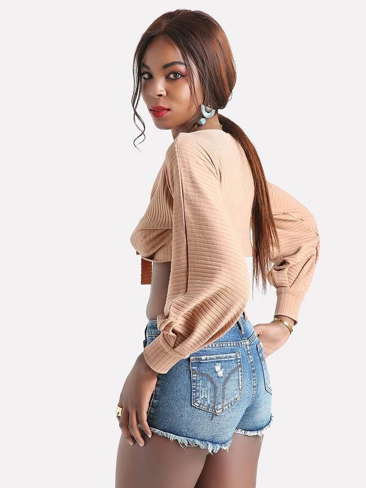 Knot Front Rib Knit Crop Top