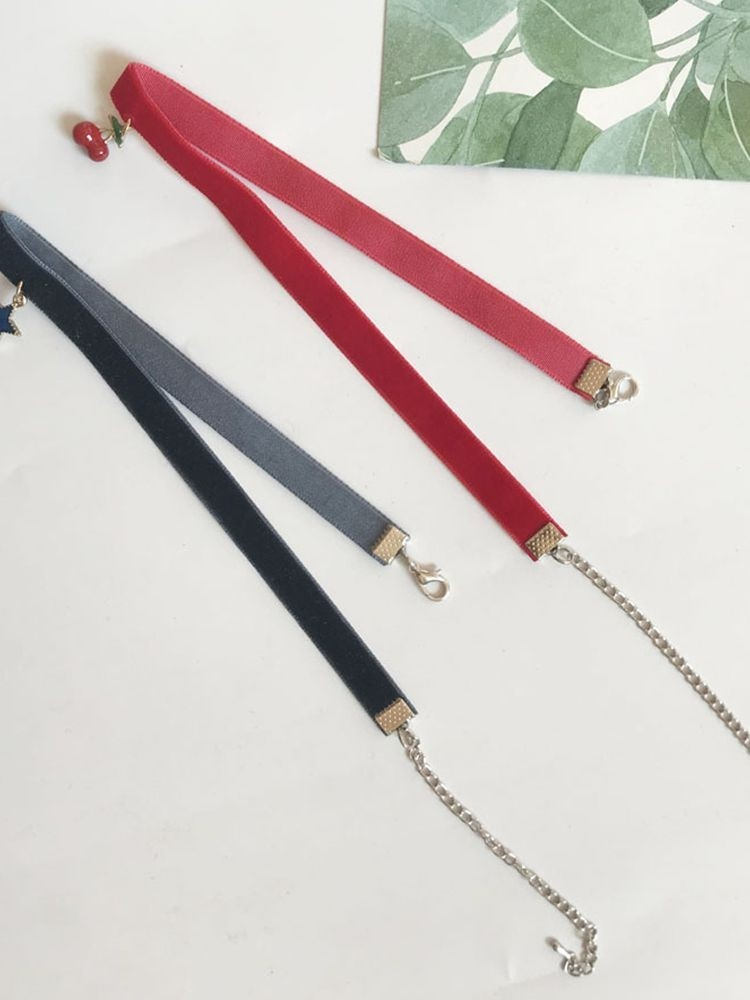 Star & Cherry Detail Velvet Choker Necklace