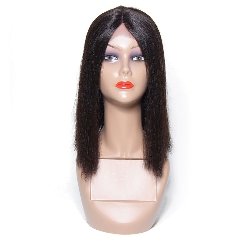 AfricanMall Straight Human Hair Wigs Lace Front Bob Wig
