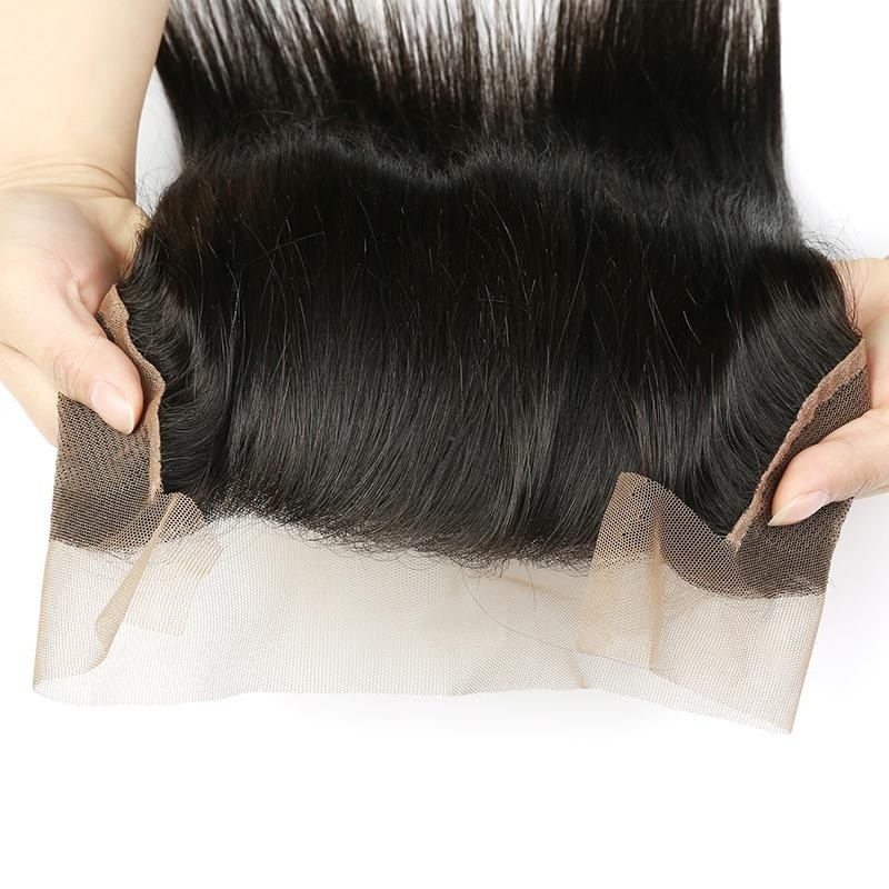 AfricanMall 3 Bundles Straight Virgin Hair Wave With 13*4 Lace Frontal Closure