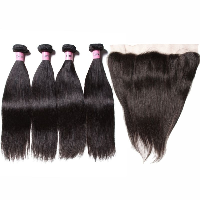 AfricanMall 4 Bundles Straight Virgin Hair Weave With 13*4 Lace Frontal Closure