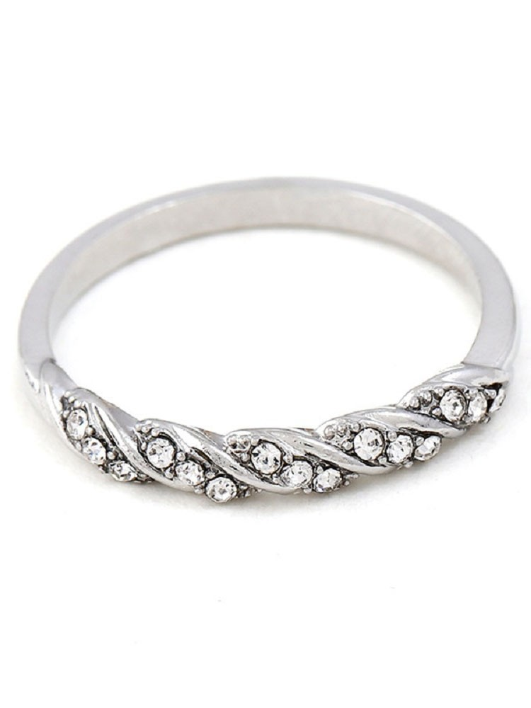 Twist Design Faux Diamond Ring