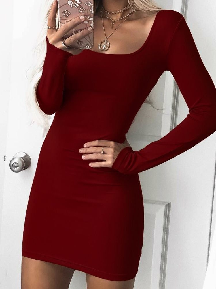 U Neck Solid Bodycon Dress