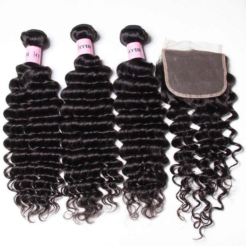 Unice Icenu Series Brazilian Deep Wave Hair With 44 Lace Closure
