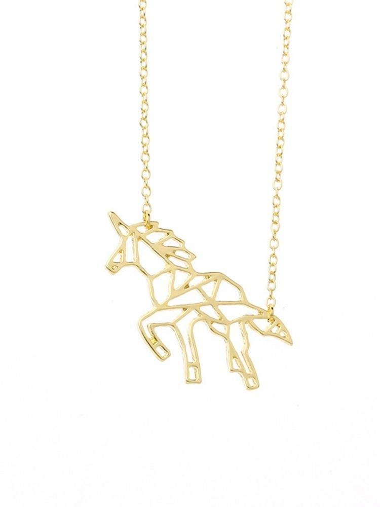 Unicorn Design Hollow out Necklace