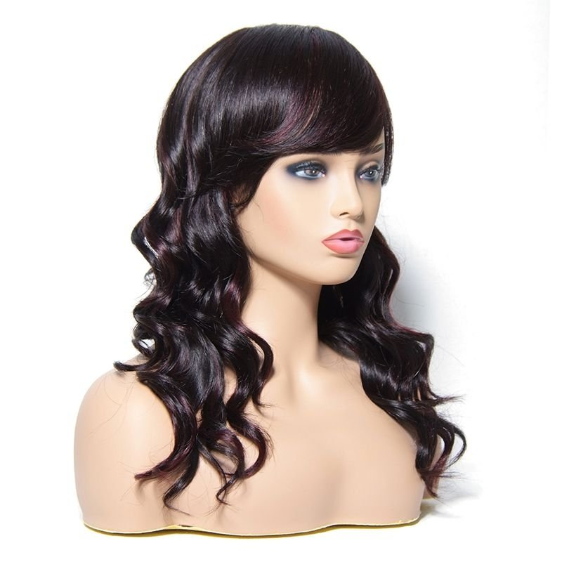 AfricanMall 16 Inch Long Big Curly High Quality Human Hair Wig