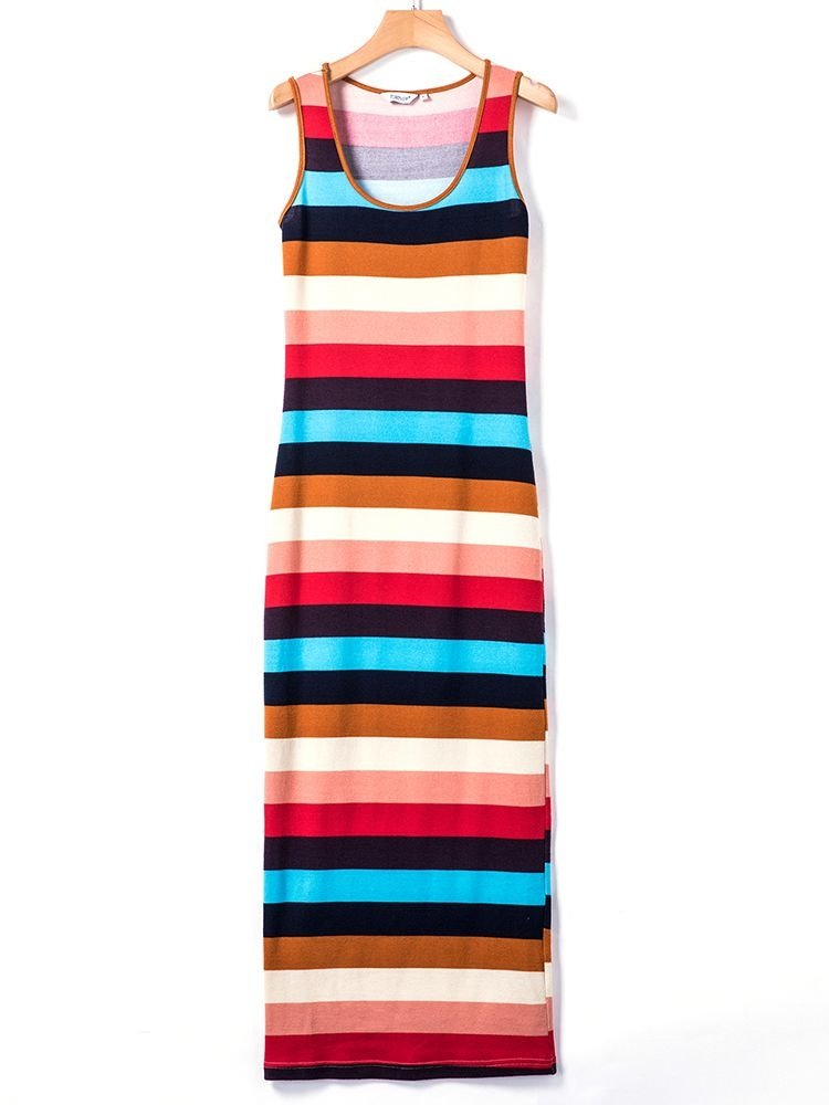 JurllyShe Multi Color Striped Sleeveless Bodycon Dress Striped Dress