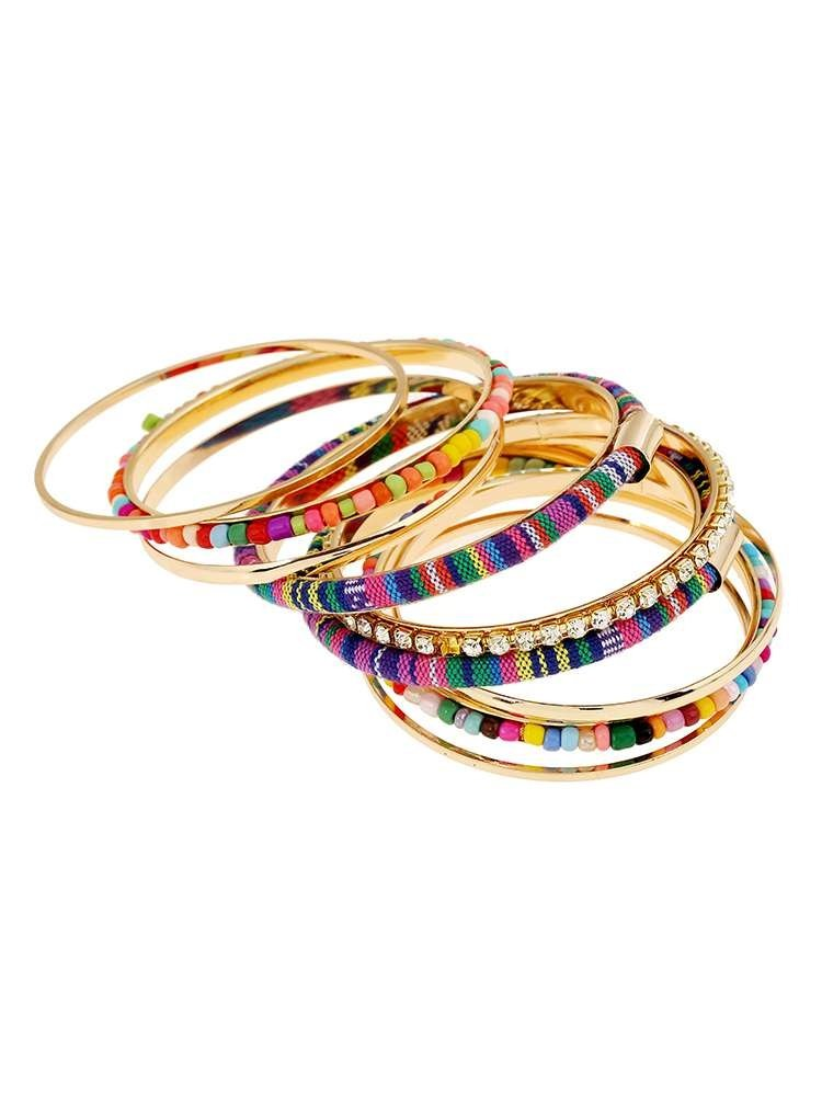 9 Pcs Colorful Bead Bangles Set