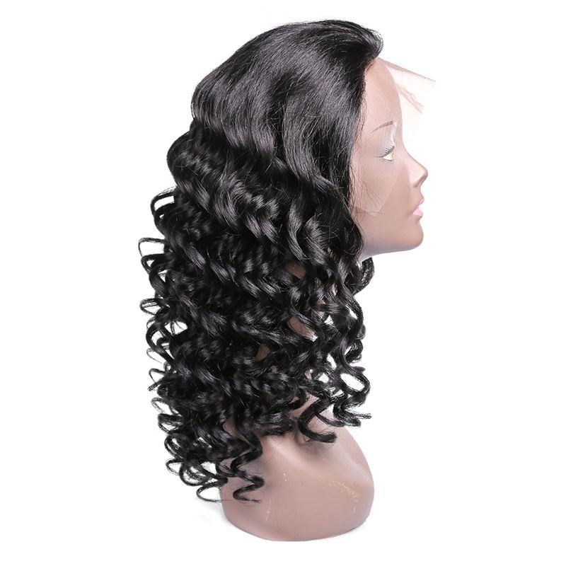 Curly Natural Black Human Hair Lace Frontal Wig